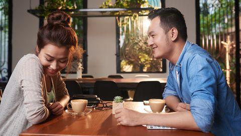 Asian Girl Blushing on Date