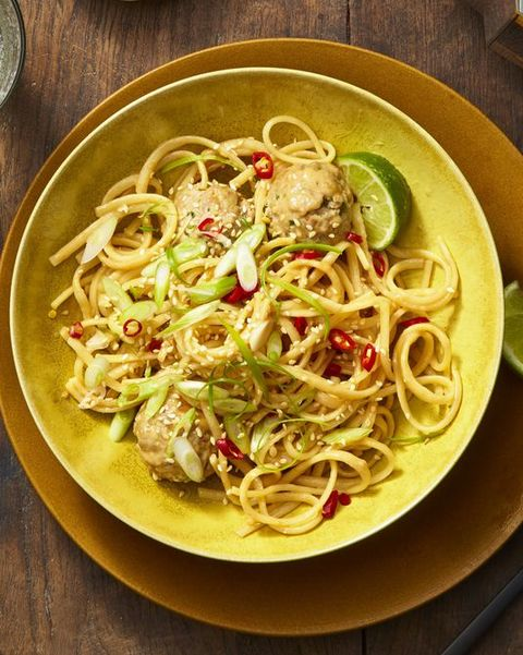asian noodles and meatballs