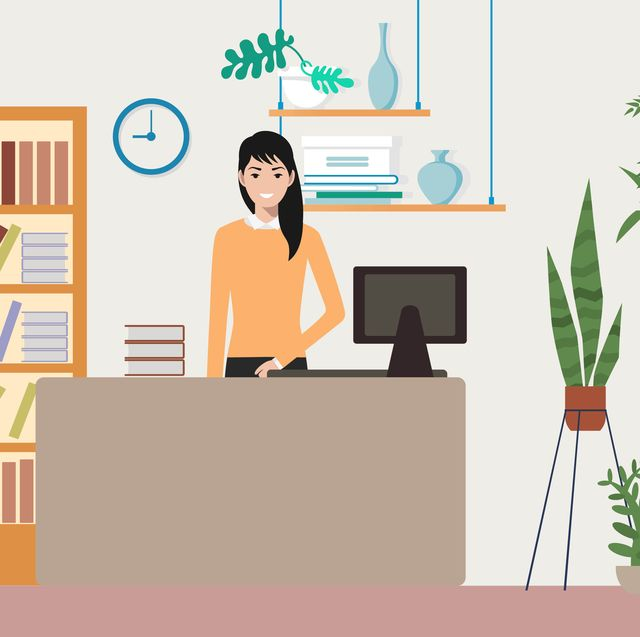 illustration of asian woman at a desk with plants and books