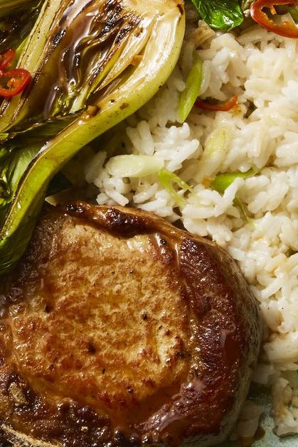 Asian pork chops with coconut rice