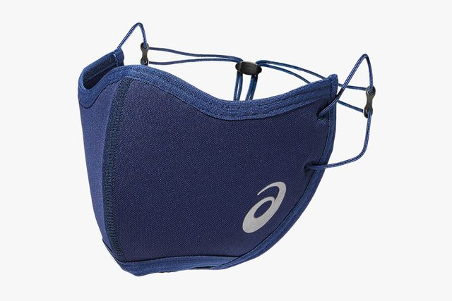 a navy blue face mask with multiple adjustment points
