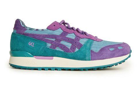 Footwear, Outdoor shoe, Shoe, Sneakers, Running shoe, Aqua, Violet, Purple, Turquoise, Green,