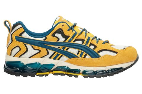 Shoe, Footwear, Running shoe, Outdoor shoe, Yellow, Walking shoe, Cross training shoe, Aqua, Athletic shoe, Orange,