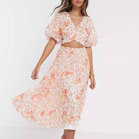 Gaun midi asos dengan motif bunga dan lengan engah