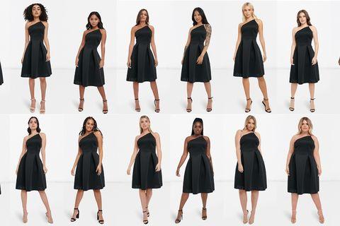 Clothing, Black, Dress, Little black dress, Fashion model, Shoulder, Fashion, Standing, Neck, Joint,
