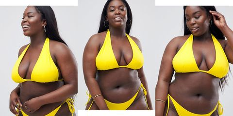 Yellow, Hairstyle, Skin, Brassiere, Swimsuit top, Abdomen, Trunk, Bikini, Beauty, Style,