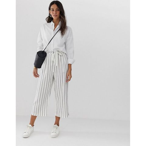 ASOS Design striped linen culottes