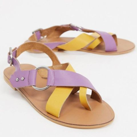 asos design feel good gekleurde leren sandalen