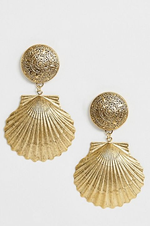 Regal Rose gold plated oversized shell statement earrings