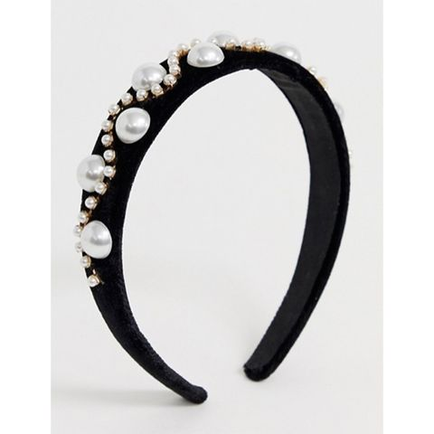ASOS headband with pearl and crystal embellishment in black velvet