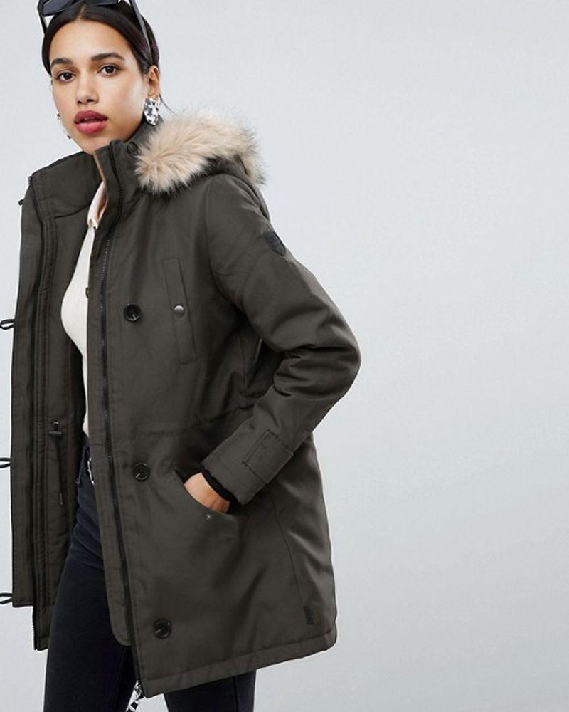 ASOS faux fur hooded parka