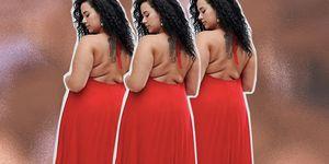 ASOS plus size model back rolls body positivity