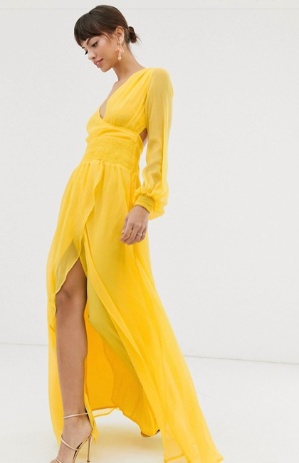 Clothing, Yellow, Hairstyle, Sleeve, Shoulder, Textile, Joint, Dress, Formal wear, One-piece garment,