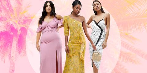 Dress, Clothing, Fashion model, Shoulder, Gown, Yellow, Formal wear, Fashion, Pink, Beauty,
