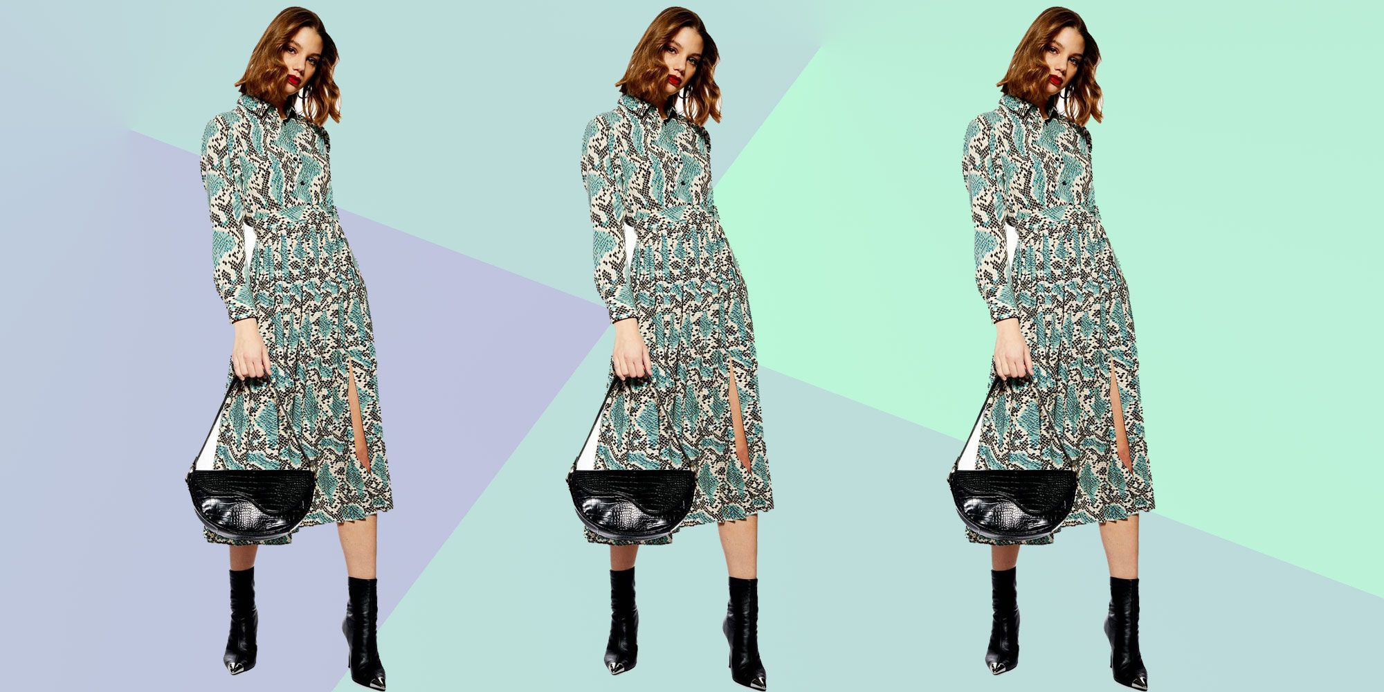 clearance prices new style & luxury exclusive shoes Topshop now has a snake-print version of their midi shirt dress