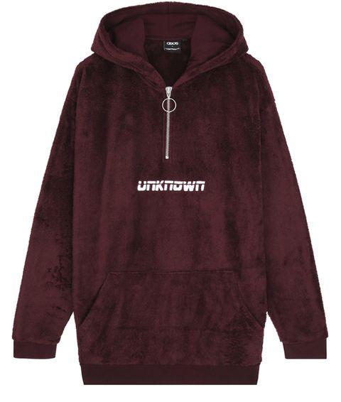 Outerwear, Clothing, Hoodie, Hood, Sleeve, Sweatshirt, Maroon, Jacket, Zipper, Polar fleece,