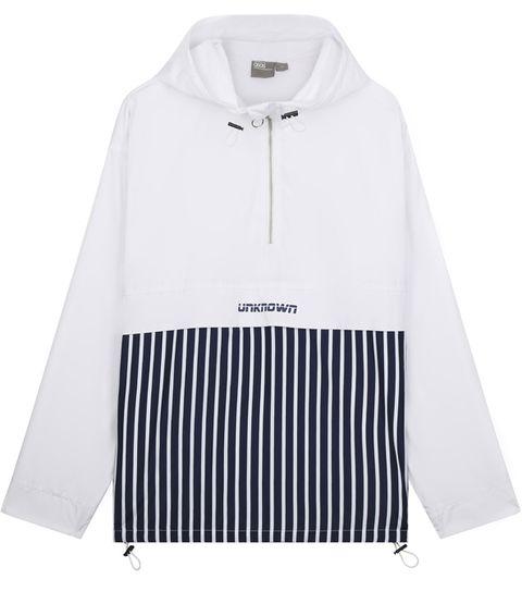 Clothing, White, Outerwear, Sleeve, Hood, Collar, Jacket,