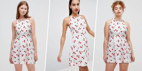 Clothing, Dress, White, Day dress, Red, Pattern, Pattern, Fashion, Design, Cocktail dress,