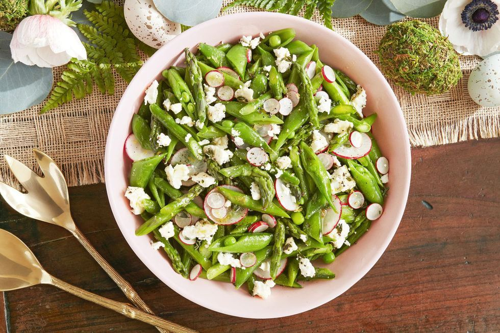 asparagus, snap pea and radish salad