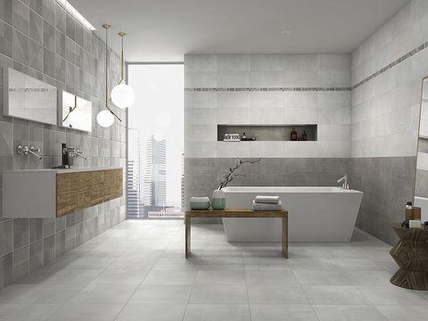 cuarto de baño de color gris