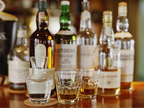 Assortment of liquor bottles
