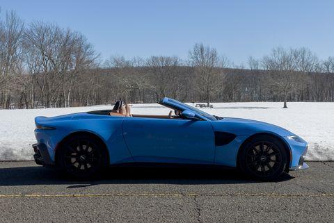 2021 aston martin vantage roadster ceramic blue al copper leather in winter