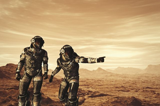 astronauts exploring planet