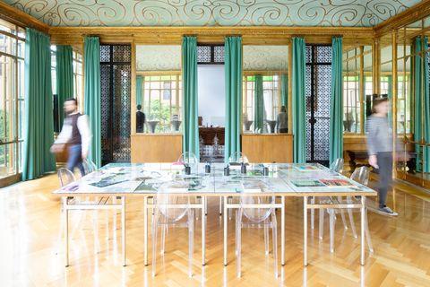 Room, Building, Table, Floor, Furniture, Interior design, Hardwood, Flooring, Wood, Architecture,