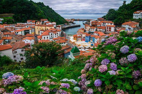 Cudillero, picturesque fishing village at sunset, Asturias, Spain
