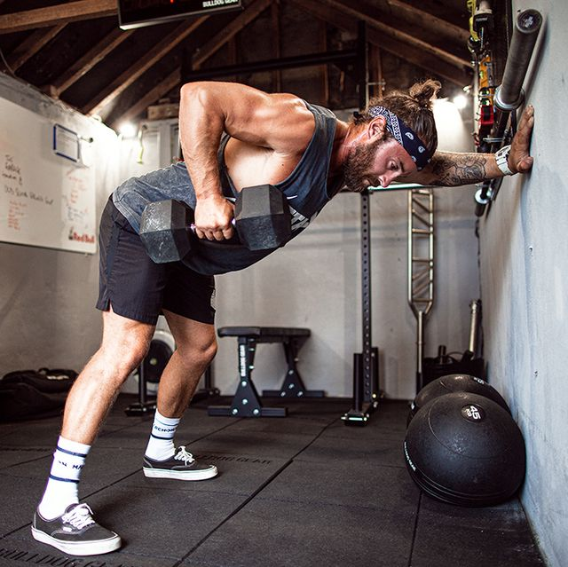 Physical fitness, Exercise equipment, Weights, Gym, Arm, Room, Strength training, Muscle, Sports training, Chest,