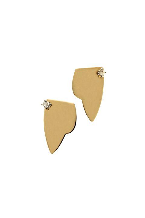 Earrings, Beige, Jewellery, Fashion accessory, Ear, Brass, Metal, Leather, Coin purse,