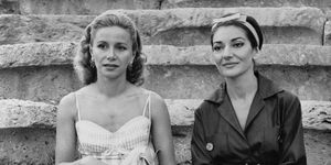 Athina Onassis and Maria Callas Sitting Together on Steps