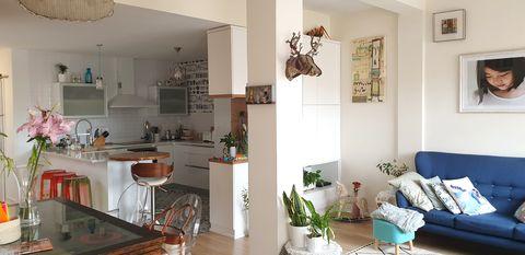salón abierto a la cocina y al comedor
