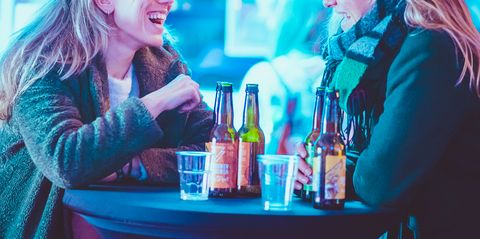 Blue, Red, Fun, Blond, Liqueur, Drink, Distilled beverage, Electric blue, Conversation, Alcohol,