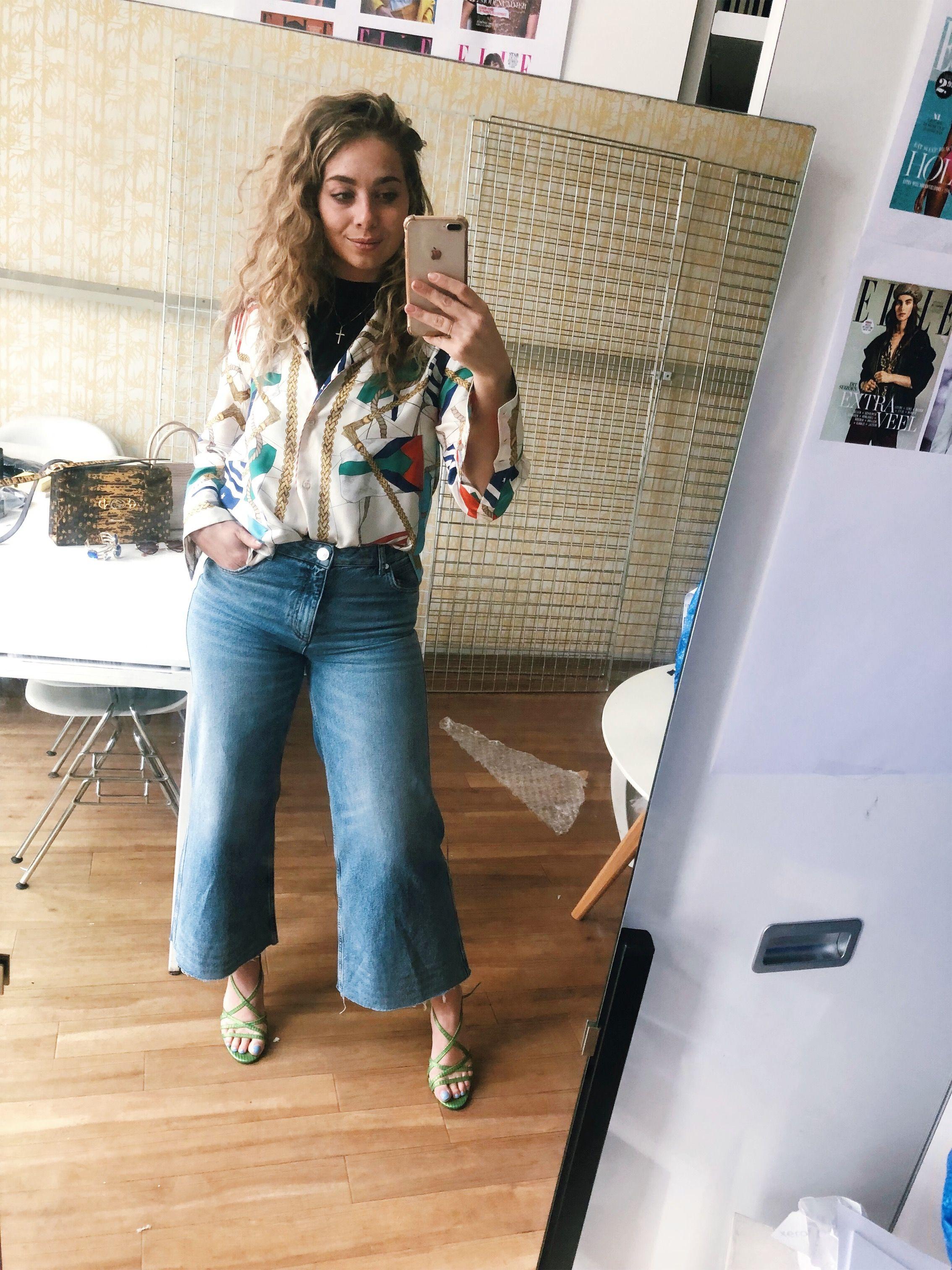 Ootd,spijkerjeans-ketting-print-bloes