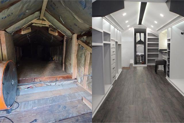 the attic's transformation into a closet