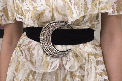 White, Clothing, Dress, Fashion, Neck, Belt, Fashion accessory, Waist, Beige, Lace,