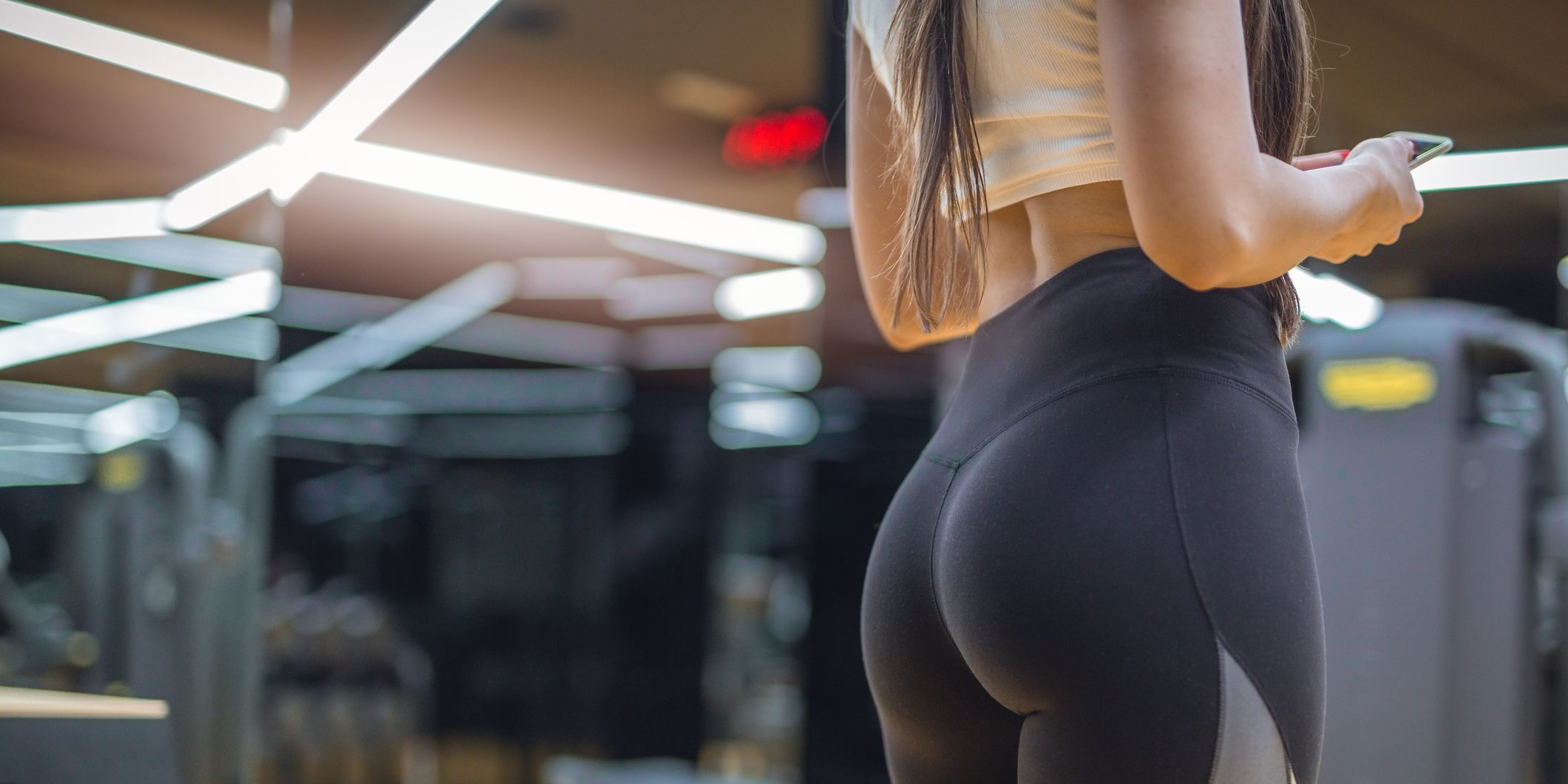 Attractive female in a gym in a hot pants