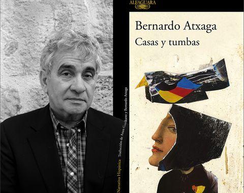Bernardo Atxaga y la portada de su última novela, Casas y Tumbas