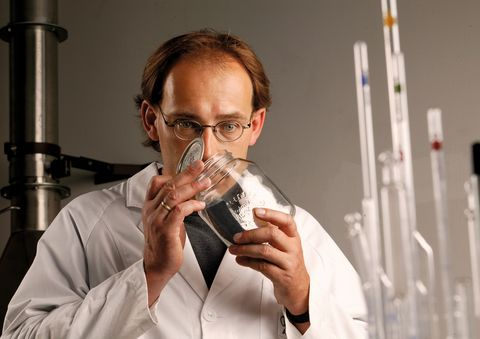odour test in the laboratory a member of the audi nose team sniffs a material specimen in the preserving jar these ordinary household containers are perfect for the odour test