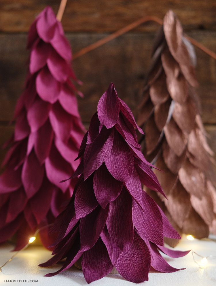 Purple Crepe Paper Christmas Tree Decorations