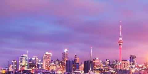 Sky, Tower, City, Metropolitan area, Urban area, Tower block, Metropolis, Cityscape, Purple, Pink,