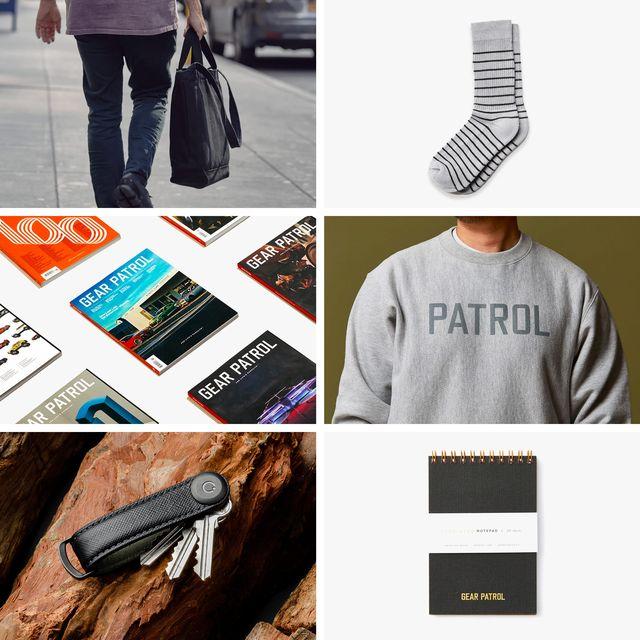 collage showing gear patrol magazine, pair of socks, gray crewneck sweatshirt, keychain holder, and pocket notebook