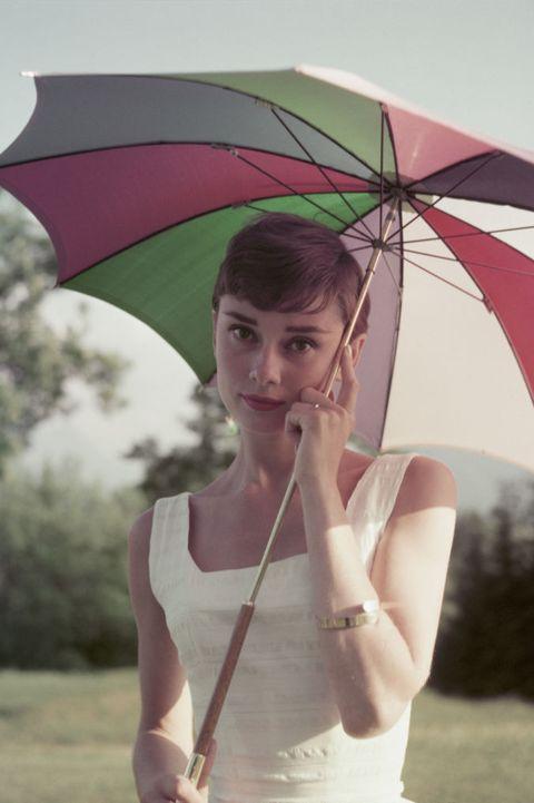 Umbrella, Pink, Beauty, Fashion accessory, Summer, Rain, Sky, Tree, Photography, Stock photography,