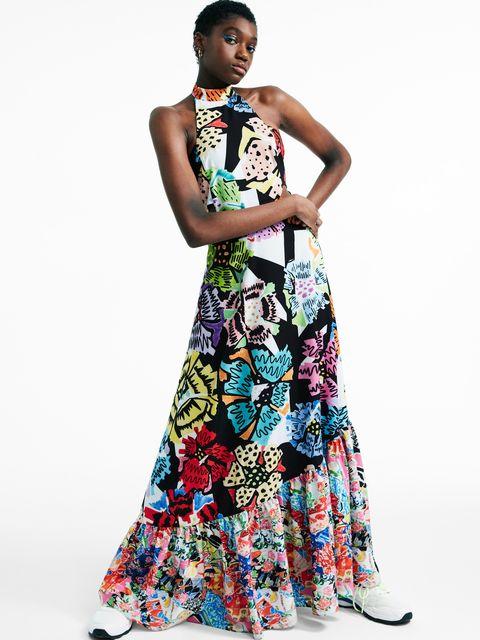 Clothing, Fashion model, Dress, Shoulder, Gown, Day dress, Formal wear, Fashion, A-line, Neck,