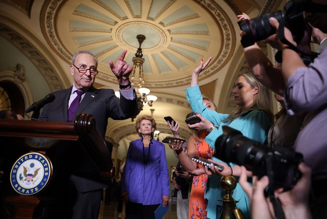 washington, dc   june 15 senate majority leader charles schumer d ny calls on a reporters as he speaks following a senate democratic luncheon at the us capitol on june 15, 2021 in washington, dc the senate is in negotiations for a bipartisan infrastructure deal photo by kevin dietschgetty images