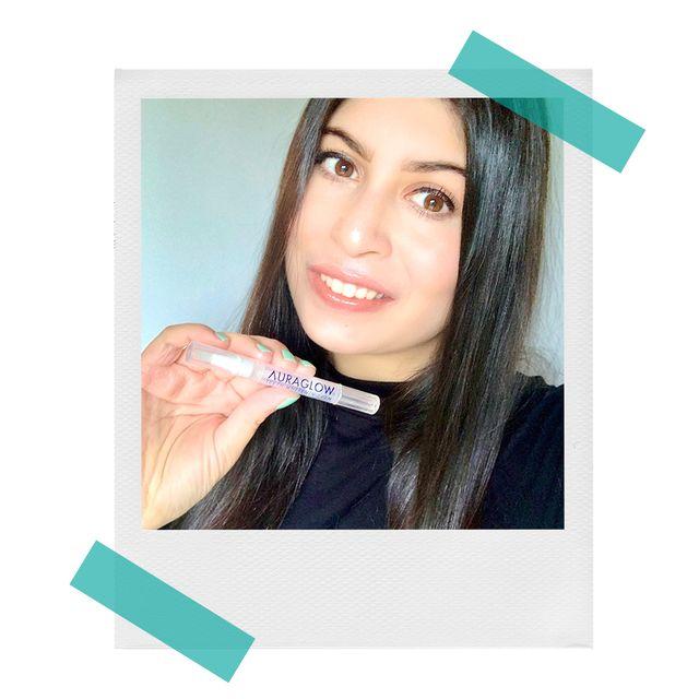 zarah with auraglow teeth whitening pen