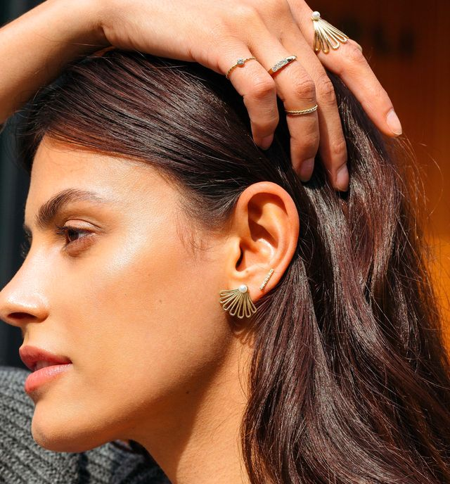aurate deco fan pearl earrings