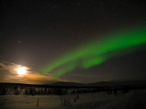 aurora borealis in Finnish Lapland with the Moon and the Pleiades - 3