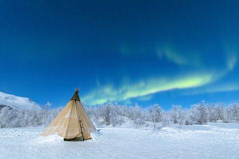 Aurora Borealis on Sami tent, Swedish Lapland